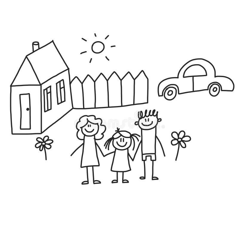 Famille heureux avec des enfants Enfants dessinant l'illustration de vecteur de style Mère, père, soeur, frère illustration libre de droits