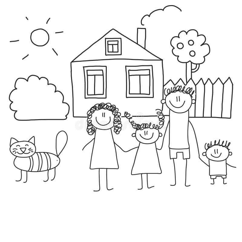 Famille heureux avec des enfants Enfants dessinant l'illustration de vecteur de style Mère, père, soeur, frère illustration stock
