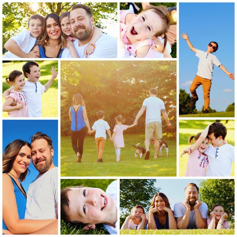 Famille heureux avec deux enfants photos libres de droits