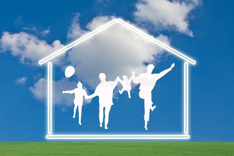 Famille heureux avec la maison illustration libre de droits