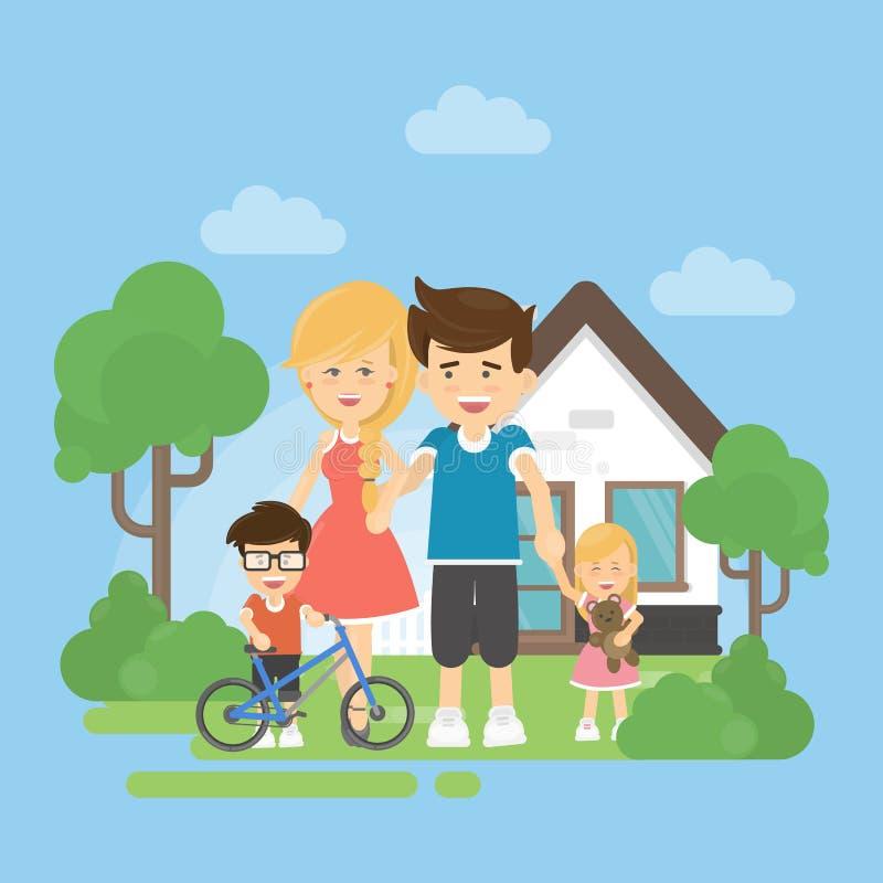 Famille heureux avec la maison illustration stock