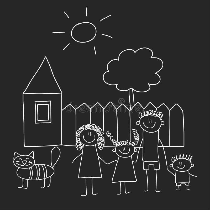 Famille heureux avec la maison Enfants dessinant l'illustration de vecteur de style d'isolement sur le fond de tableau noir Mère, illustration de vecteur
