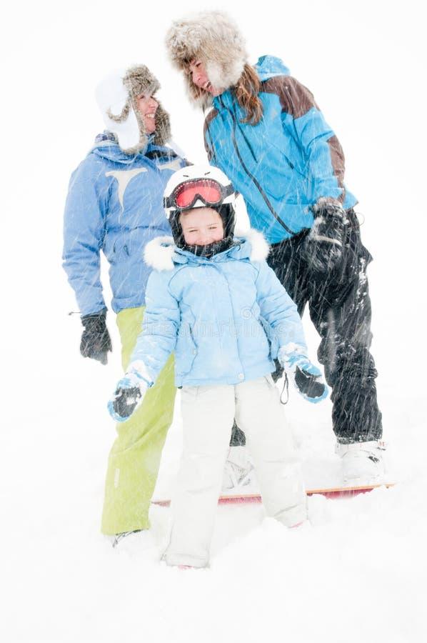 Famille heureux des vacances de l'hiver image libre de droits