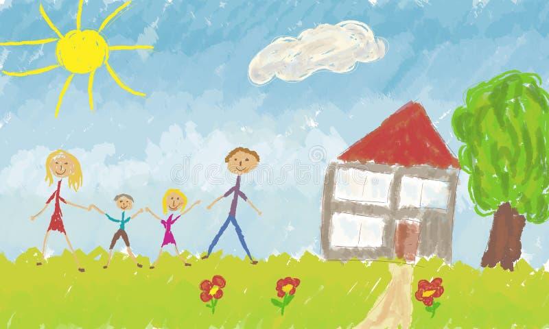 Famille heureux devant leur maison illustration de vecteur