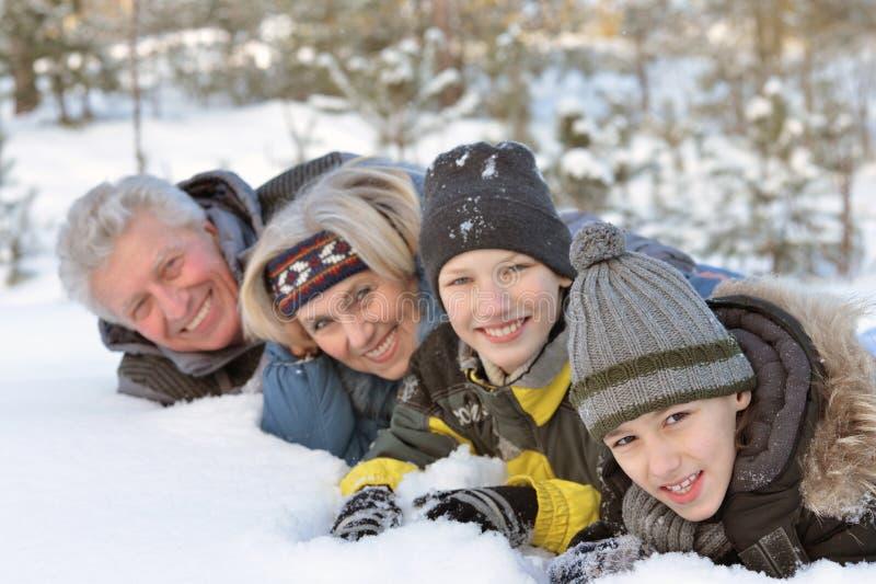 Famille heureux en stationnement de l'hiver photographie stock libre de droits