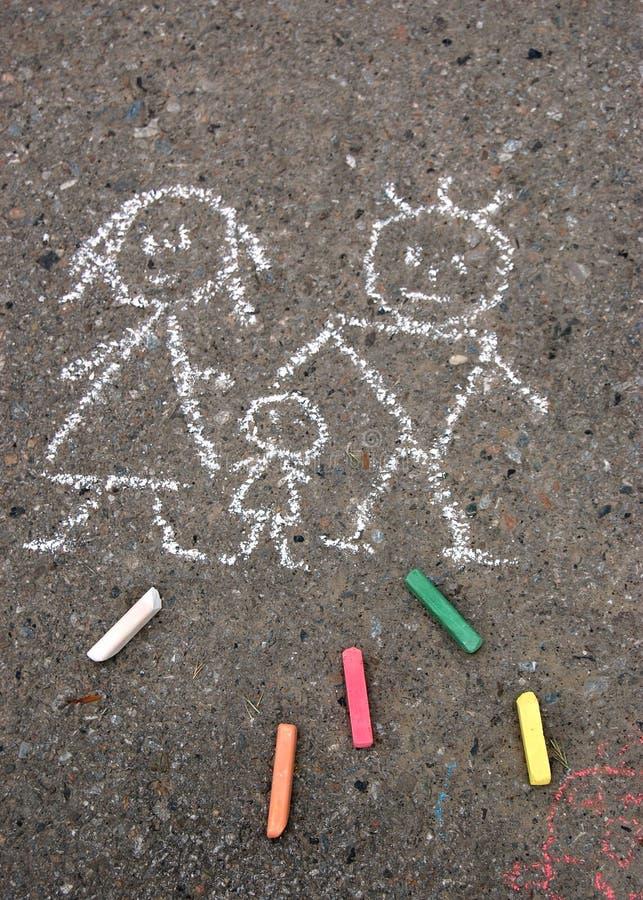 Famille. Illustration sur l'asphalte images stock