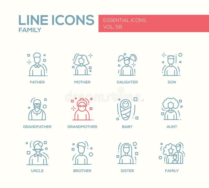 Famille - ligne icônes de conception réglées illustration de vecteur