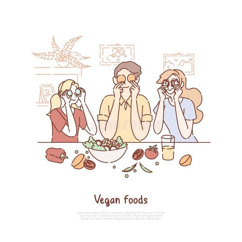 Famille mangeant de la nourriture de vegan, mode de vie sain, végétariens faisant cuire le dîner, amis tenant des tranches de lég illustration libre de droits