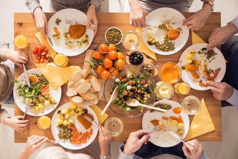 Famille mangeant le repas sain photos libres de droits
