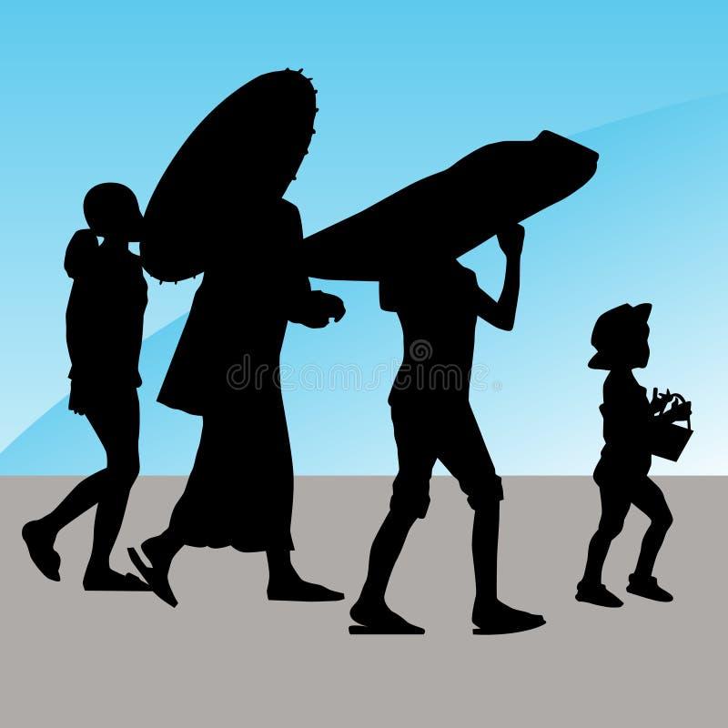 Famille marchant à l'extérieur illustration stock