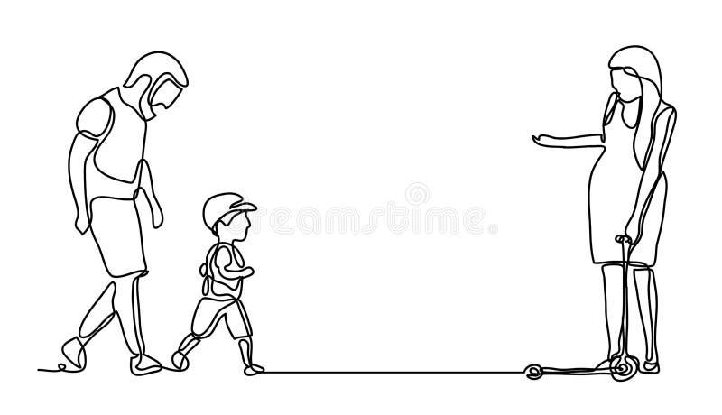 Famille marchant en stationnement Dessin au trait continu Monochrome de vecteur, dessinant par des lignes Les gens en stationneme illustration stock