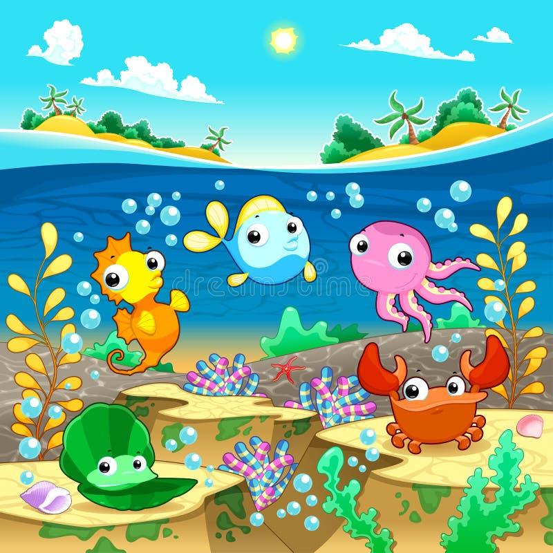 Famille marine heureuse sous la mer. illustration de vecteur