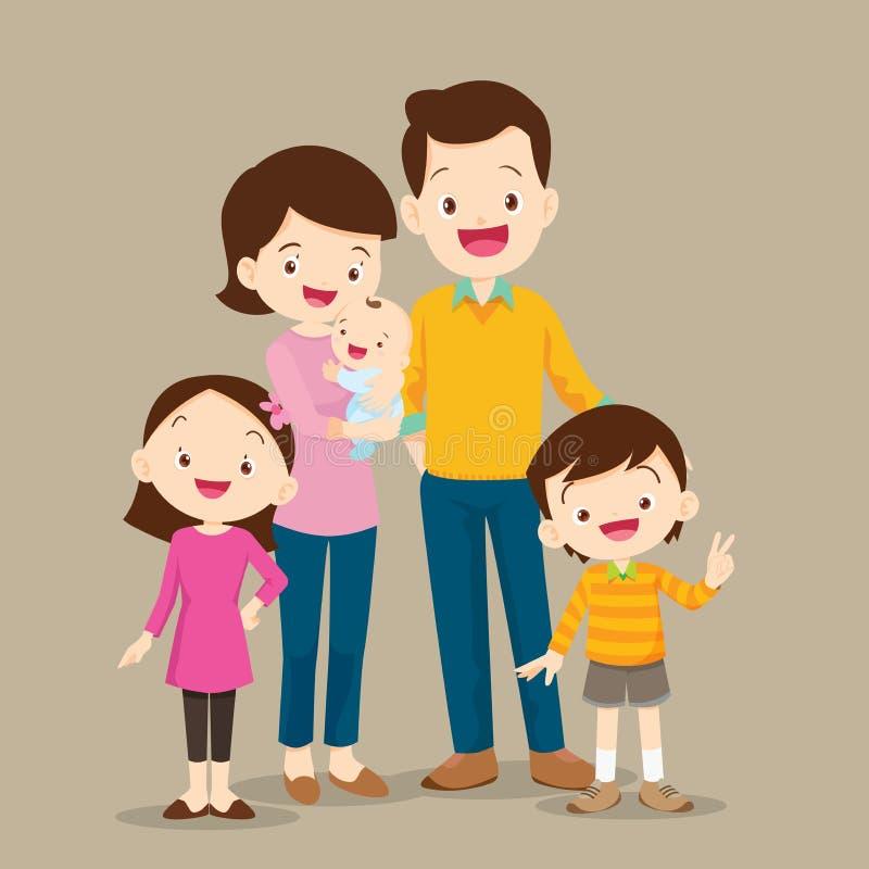 Famille mignonne avec le bébé illustration libre de droits