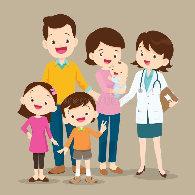 Famille mignonne avec le docteur de bébé et de femme illustration libre de droits