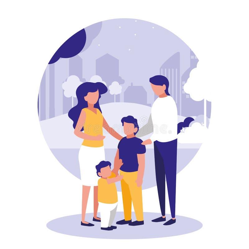 Famille mignonne dans la scène de parc naturelle illustration de vecteur