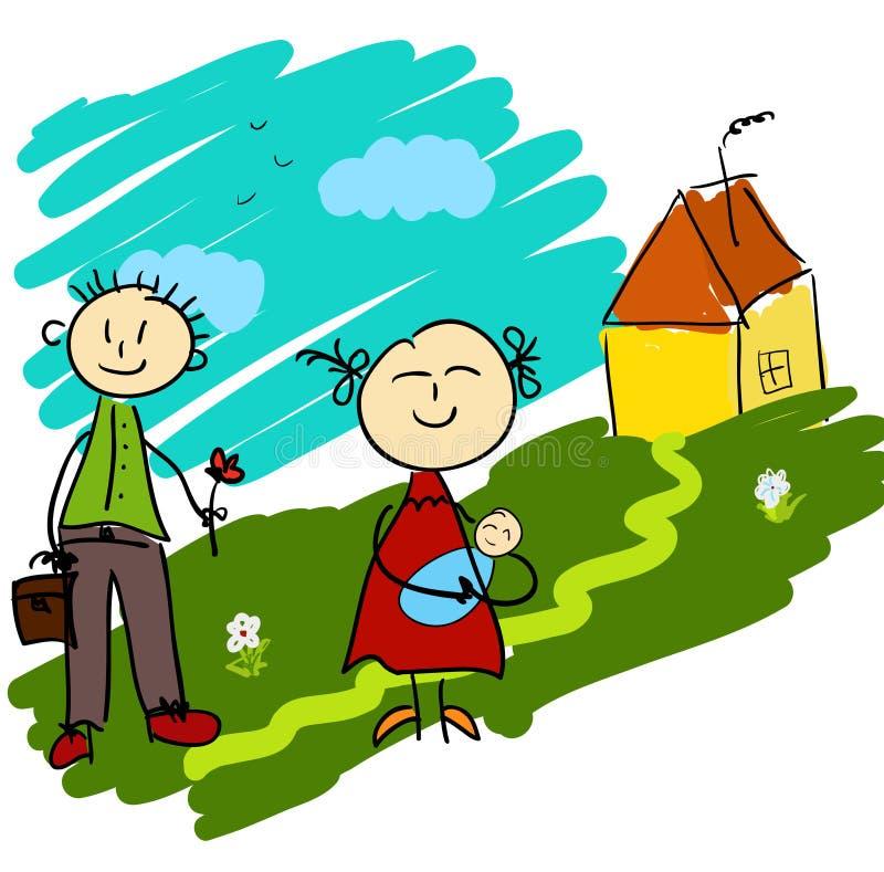 Famille mignonne de dessin animé illustration de vecteur