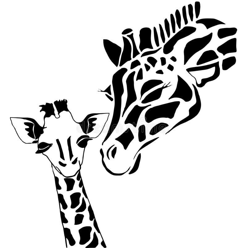 Famille mignonne de giraffe illustration stock