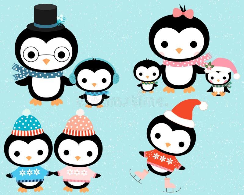 Famille mignonne de pingouin d'hiver de bande dessinée illustration stock