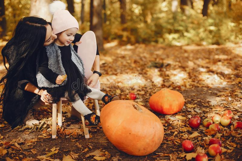 Famille mignonne et élégante en parc d'automne photos libres de droits