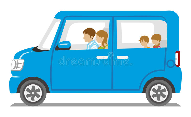 Famille montant la voiture bleue, vue de côté - d'isolement illustration stock