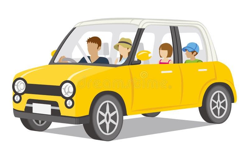 Famille montant la voiture jaune, d'isolement illustration de vecteur