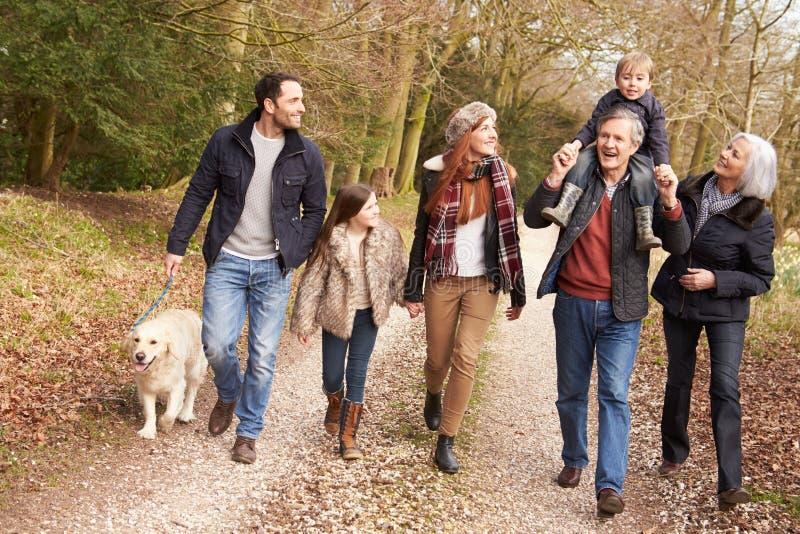 Famille multi de génération sur la promenade de campagne photographie stock libre de droits