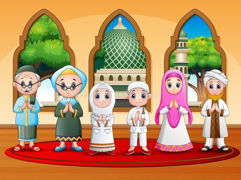 Famille musulmane heureuse souhaitant à la mosquée illustration de vecteur