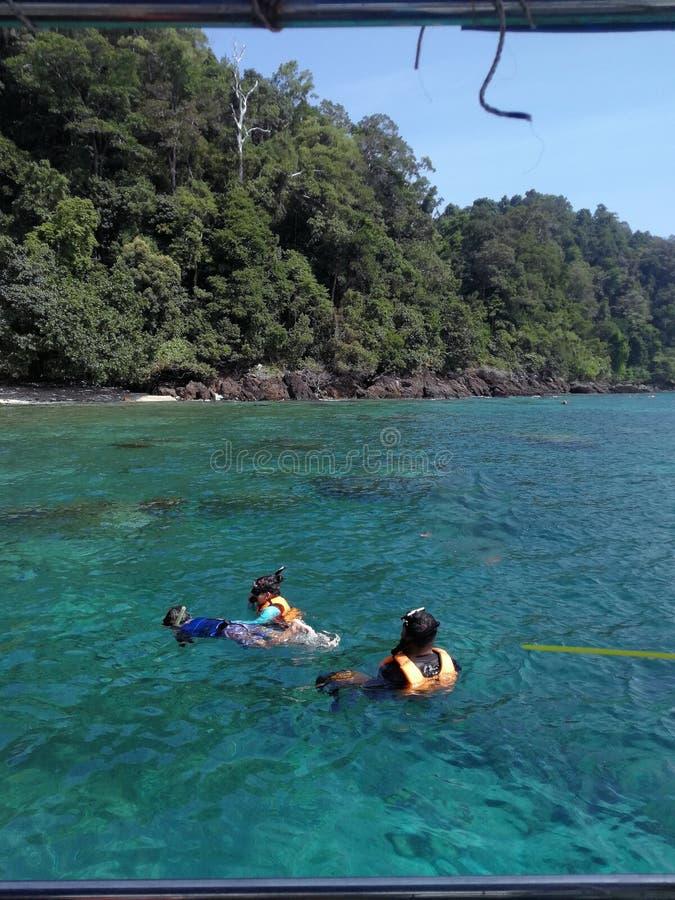 Famille naviguant au schnorchel en eau libre dans Pulau Redang, Malaisie photos libres de droits