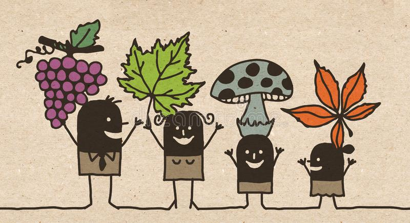 Famille noire de bande dessinée - Autumn Picking illustration stock