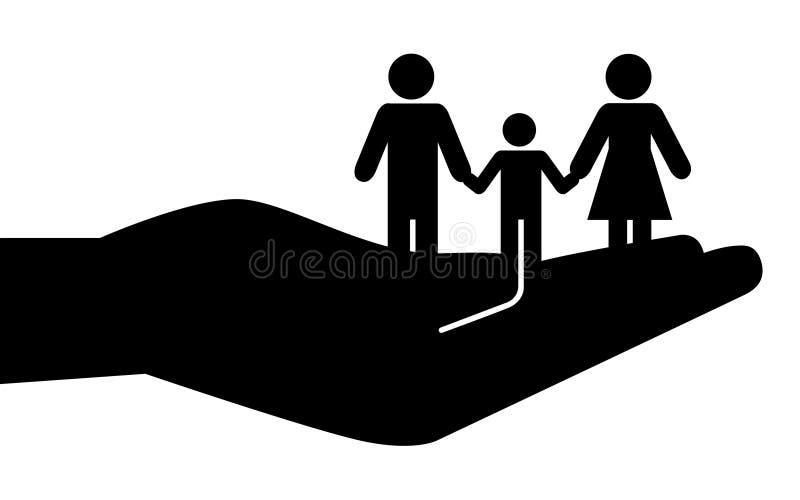 Famille ou la communauté évasée en main illustration stock