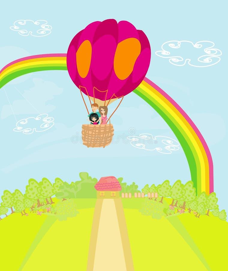 Famille pilotant un ballon à air chaud au-dessus de l'arc-en-ciel illustration de vecteur