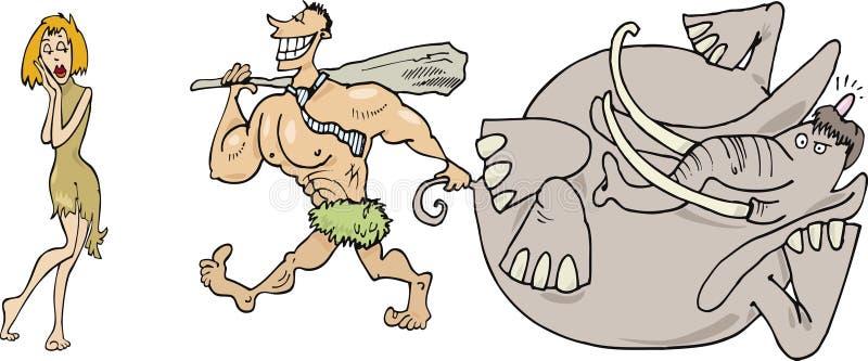 Famille préhistorique illustration libre de droits