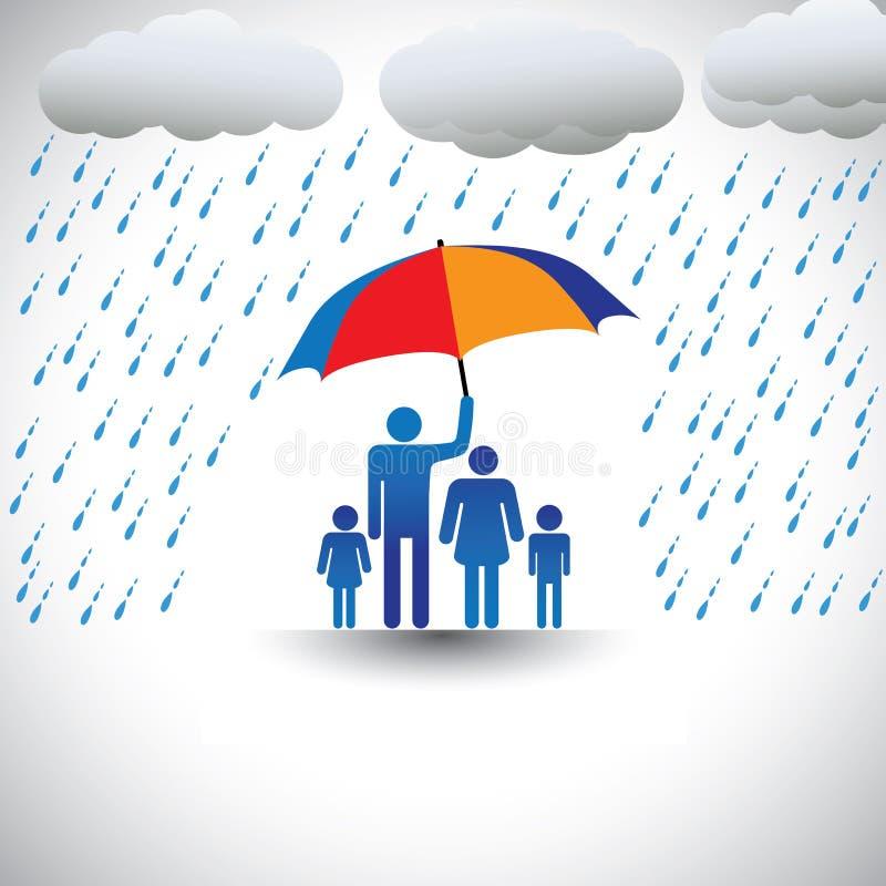 Famille protectrice de père de pluie avec le parapluie illustration libre de droits