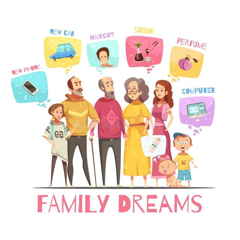 Famille rêvant le concept de construction illustration libre de droits