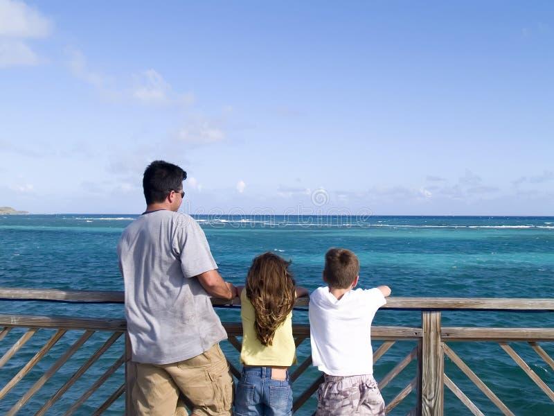 Download Famille regardant l'océan image stock. Image du penchement - 2149643