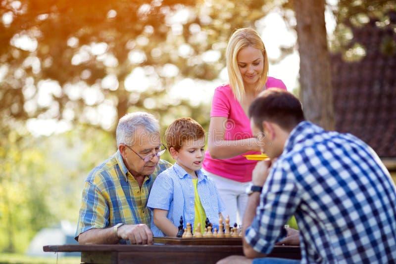 Famille s'asseyant en nature et jouant des échecs images stock