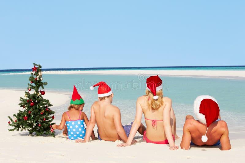 Famille s'asseyant sur la plage avec l'arbre et les chapeaux de Noël photo libre de droits
