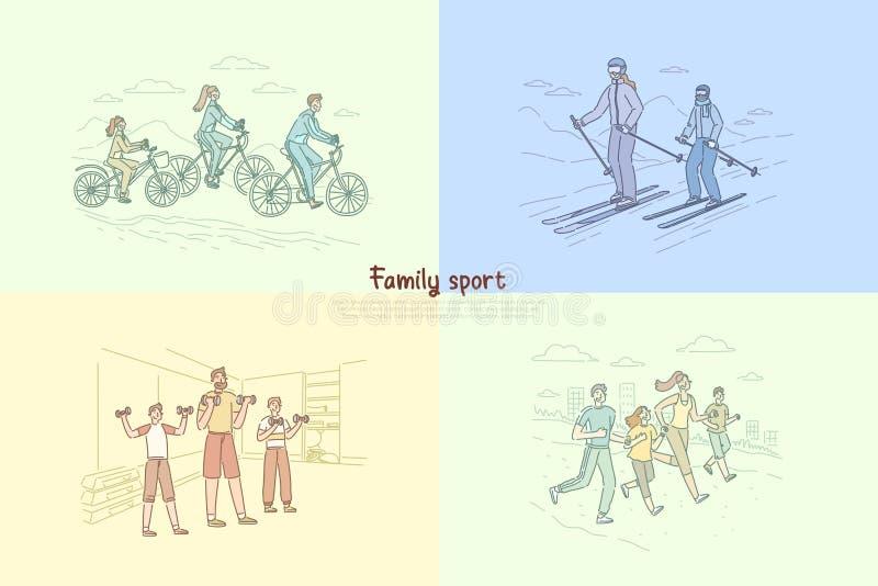 Famille s'exerçant ensemble, parents avec des enfants pulsant, bicyclette de monte, faisant le sport, couples à la bannière de st illustration libre de droits