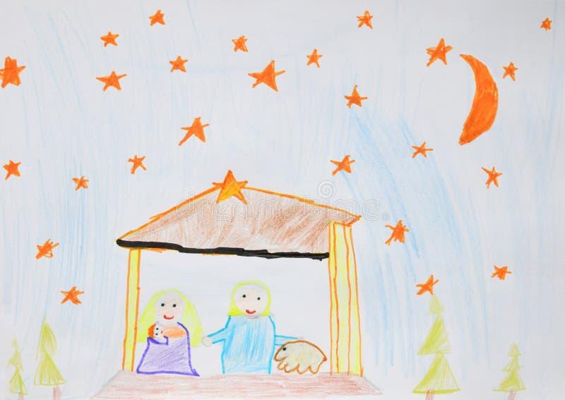 Famille sainte Mary, Joseph et Jésus Scène religieuse de nativité de Noël Dessin du ` s d'enfants illustration stock