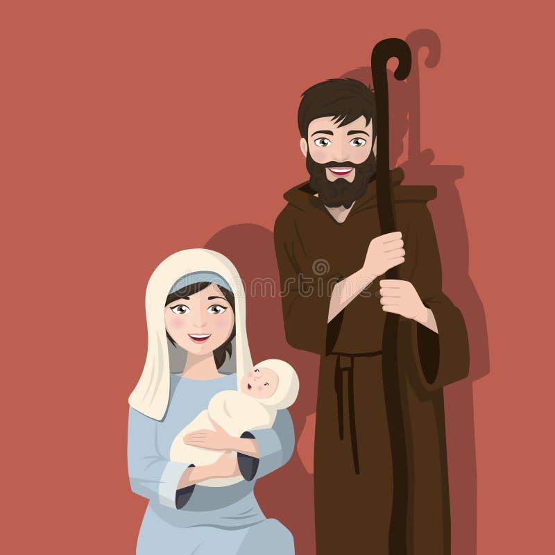 Famille sainte sur un fond plat Scène de nativité de Noël Naissance du Christ illustration de vecteur