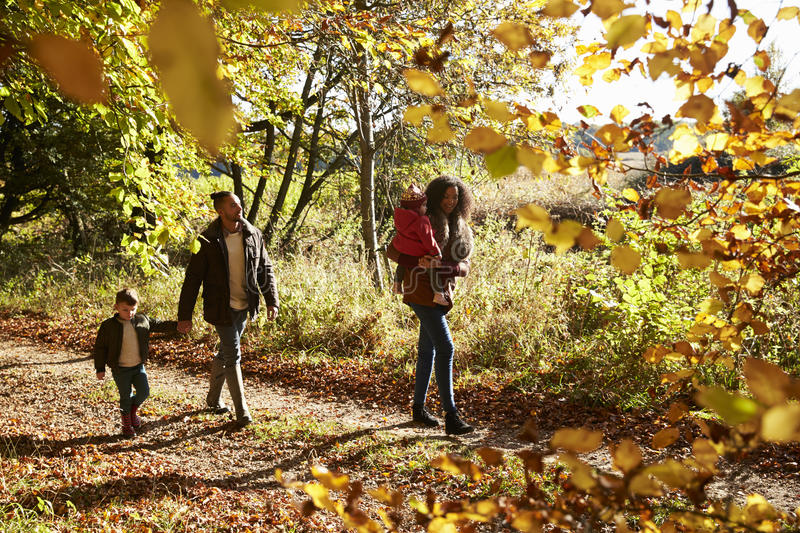 Famille sur Autumn Walk In Woodland Together photos stock