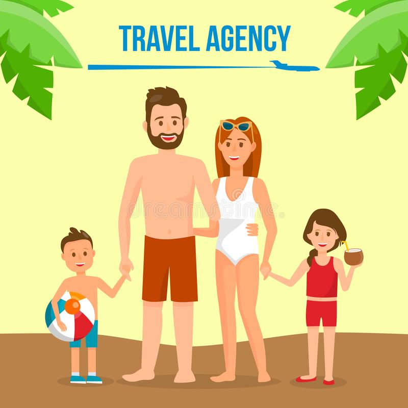 Famille sur la bannière sociale de médias de vacances d'été illustration libre de droits