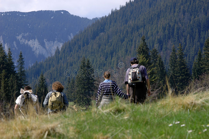 Download Famille sur la montagne photo stock. Image du vert, marais - 730516