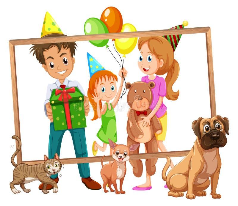 Famille sur le cadre de photo illustration stock