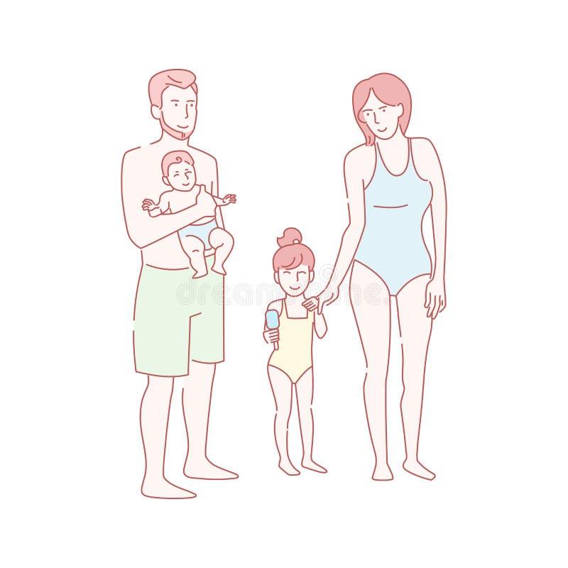 Famille sur le vecteur de plage Art d'isolement tiré par la main sur le fond blanc plat illustration de vecteur
