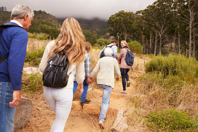 Famille sur plusieurs générations marchant par une forêt, vue arrière images stock