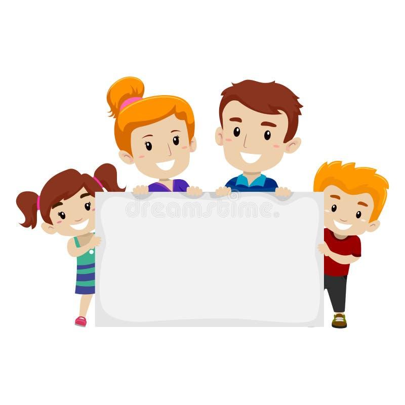 Famille tenant la bannière vide illustration libre de droits