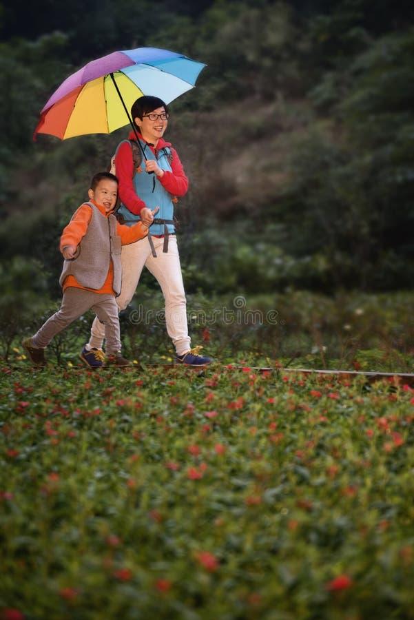 Famille trimardant sous la pluie image libre de droits