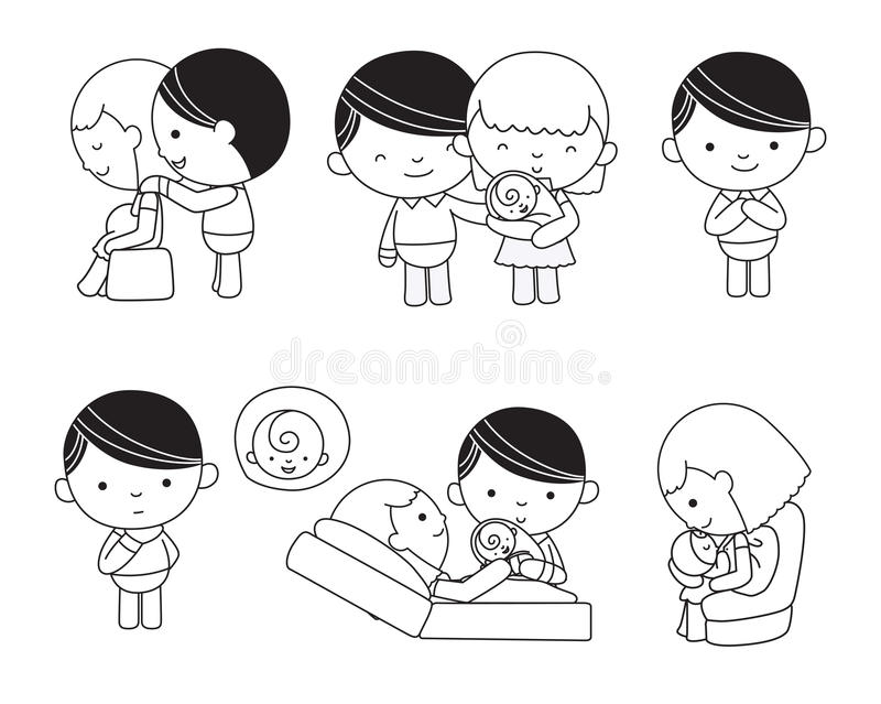 Famille typique dans l'amour, femme enceinte illustration de vecteur