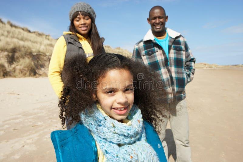 Famille Wallking sur la plage de l'hiver images stock